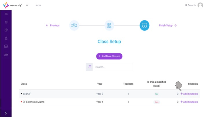 5. Click '+ Add Students' to begin assigning students to a class