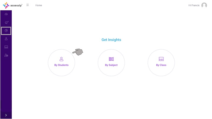 1. To begin viewing Student Insights, click the 'By Students' icon on your dashboard.
