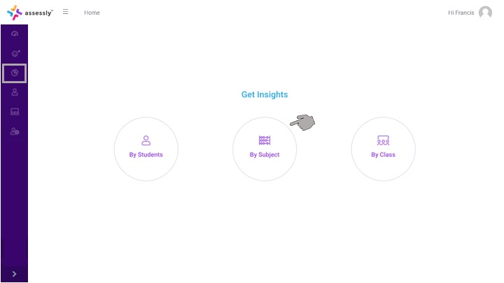 1. To begin viewing Subject Insights, click the 'By Subject' icon on your dashboard.