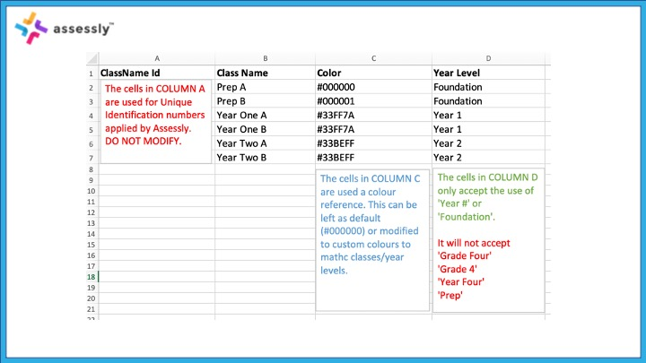 2. Populate the cells, ensuring that you adhere to the required format/conventions. Save this file ready for upload.